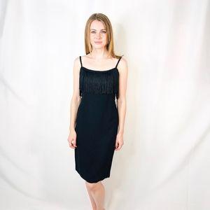 Vintage Black Fringe Classic Cocktail Dress 0465